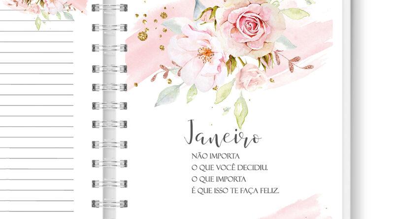 Kit Digital Encadernação : Agenda Floral (2022)