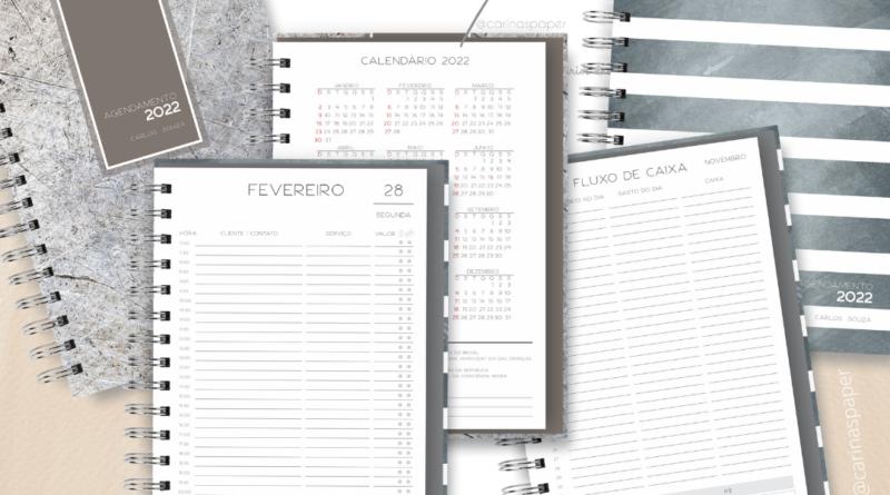 Kit Digital Encadernação : Miolo de Agenda Neutra Datado – 2022