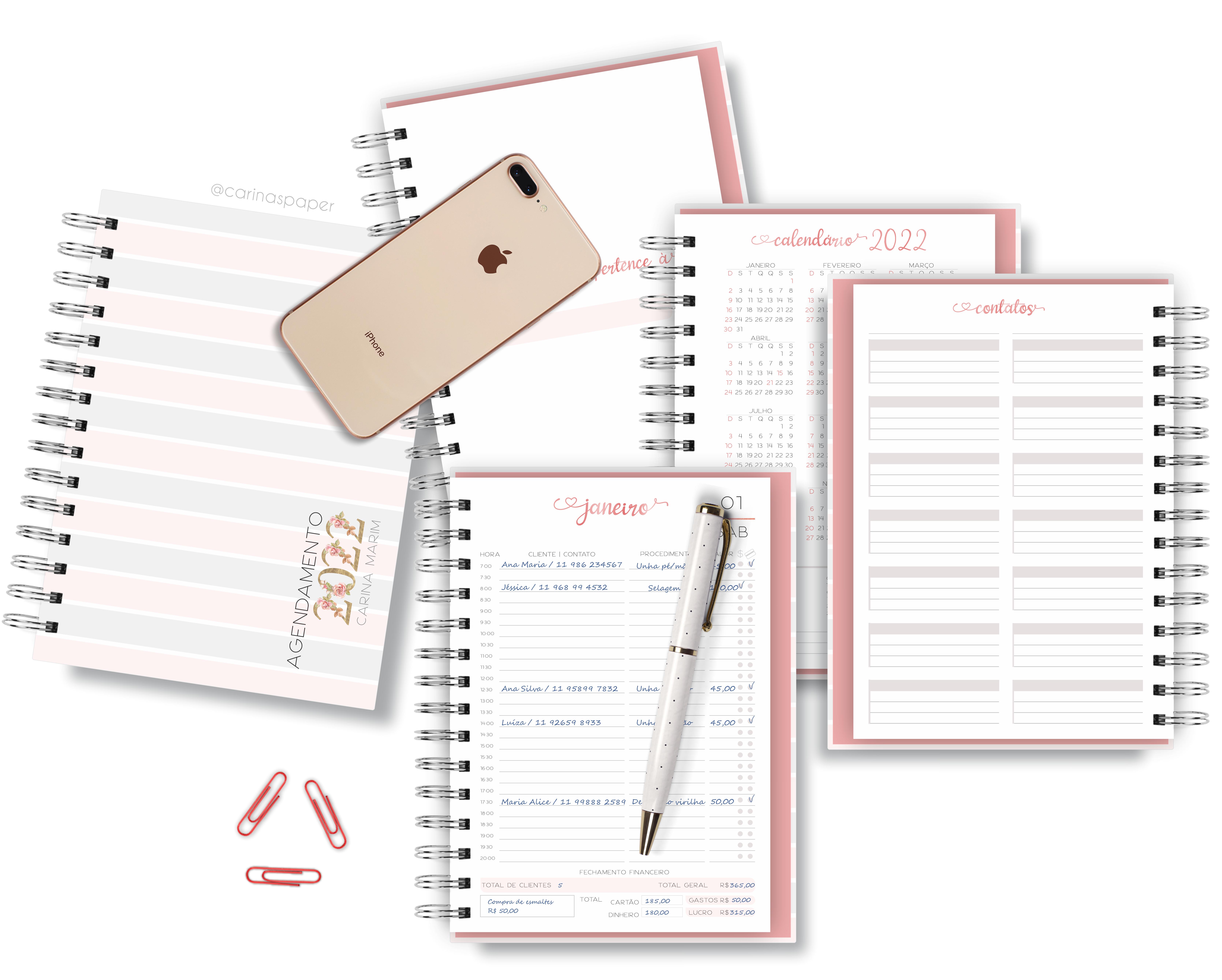 Kit Digital Encadernação : Miolo de Agenda Rosa Datado – 2022